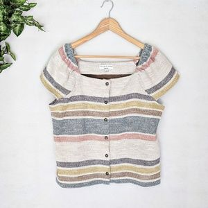 Madewell Texture & Thread Striped Button Down Top